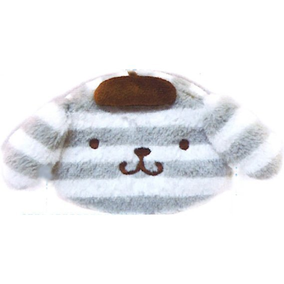 Pom Pom Purin Face Pouch: Boader Purin Series Gray