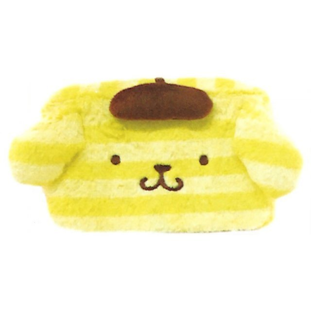 Pom Pom Purin Face Square Pouch: Boader Purin Series Yellow