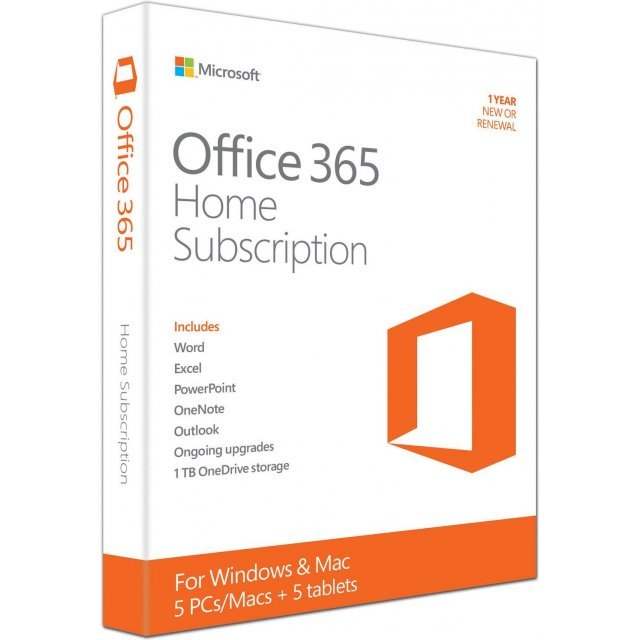 Microsoft Office 365 Home (1-year Subscription; 5 Licenses)