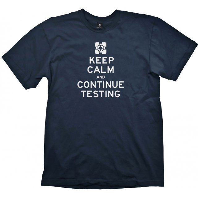Portal 2 T-Shirt: Keep Calm and Continue Testing (L Size)