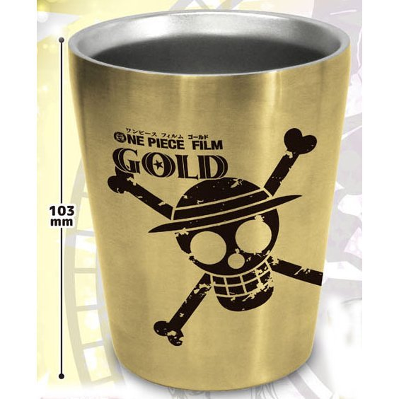 One Piece Film Gold Double Stainless Steel Tumbler: Jolly Roger