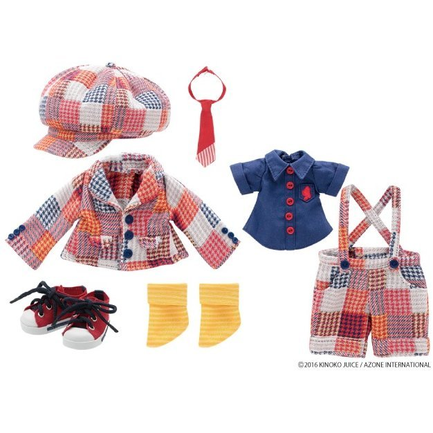 Kinoko Planet Namaiki School Boy Set Red Multi Check