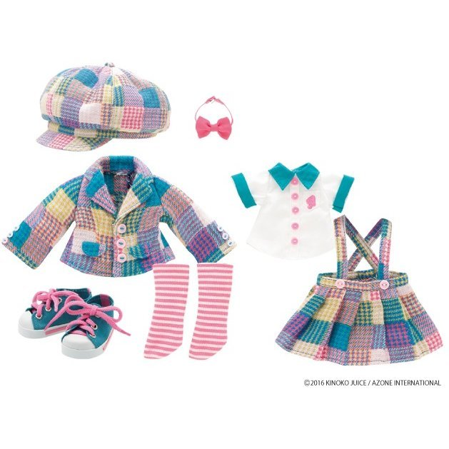 Kinoko Planet Oshama na School Girl Set Blue Green Multi Check