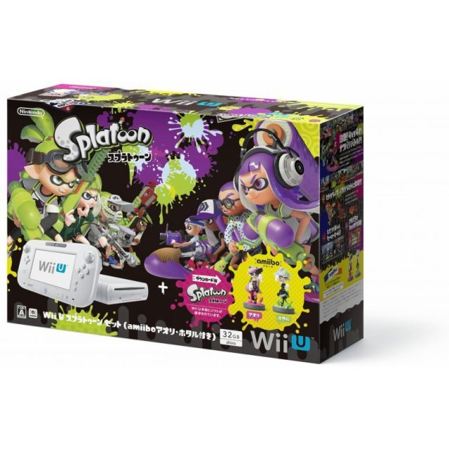 Wii U Splatoon Set with amiibo Splatoon Series Figure (Aori / Hotaru) (32GB White)