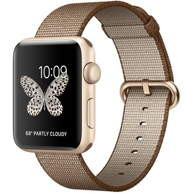 Apple Watch Series 2 42mm with Toasted Coffee/Caramel Woven Nylon (Gold)