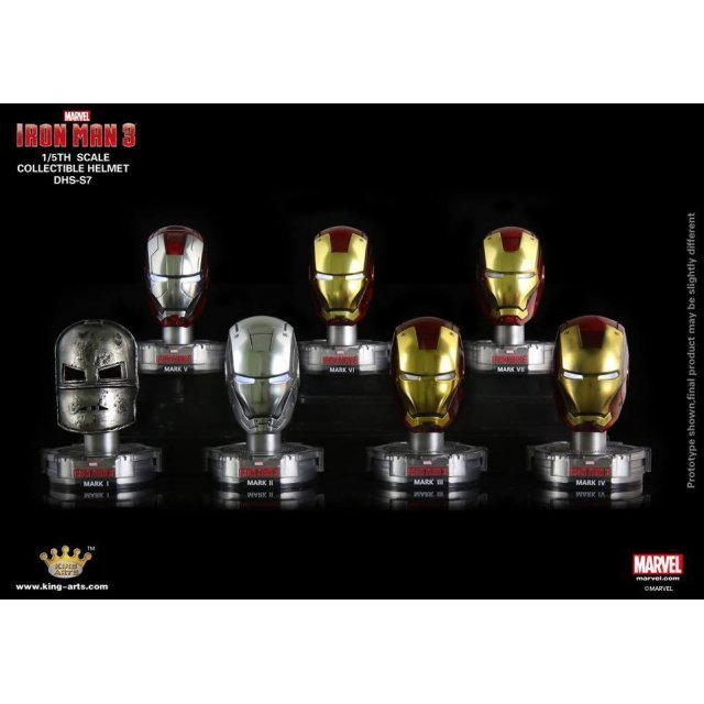 King Arts Iron Man 3 1/5 Deluxe Helmet Series 7 (Set of 8 pieces)