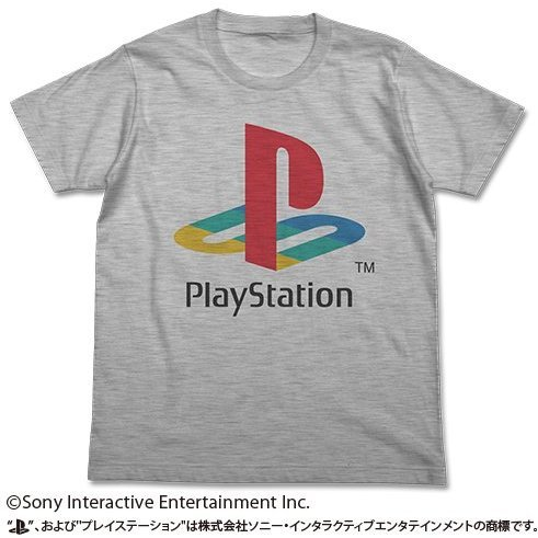 PlayStation T-shirt Heather Gray: First Generation PlayStation (L Size) (re-run)