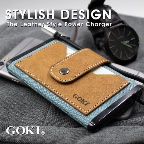 GOKI CXX-1225D Leather Power Bank (Light Blue)