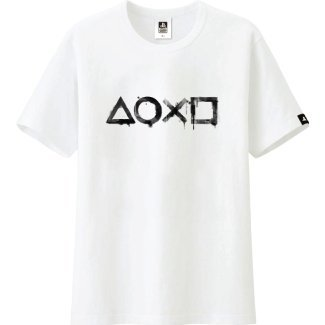 PlayStation Ink Washing and Dyeing Style T-Shirt White (XLSize)