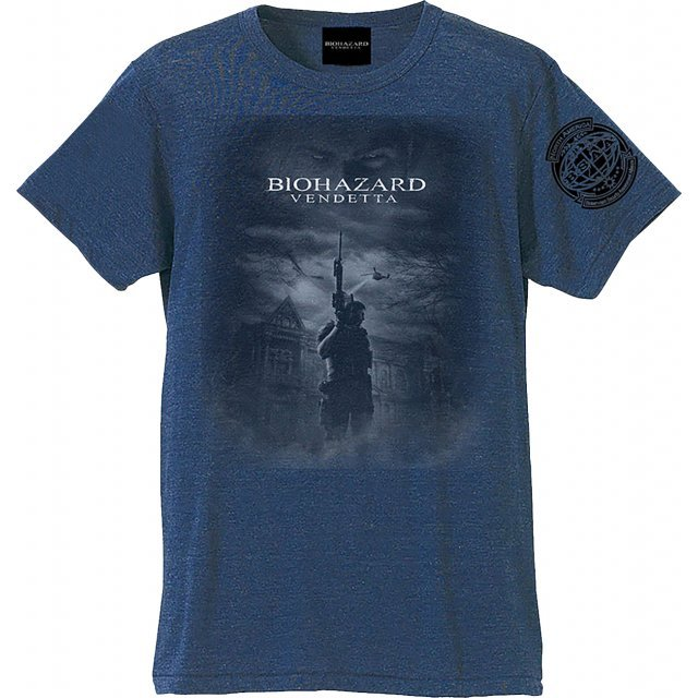 Biohazard Vendetta T-shirt Chris And Mansion Heather Navy (XL Size)