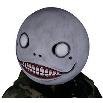 Xcoser Cosplay NieR Mask Gray Latex Emil Wind Helmet Costume