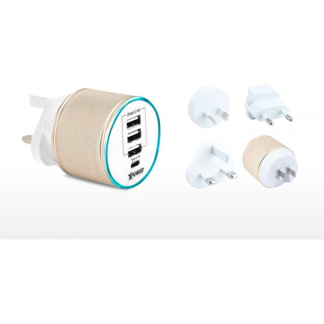 Xpower WC4C 7.4A 4-port Type-C & USB Travel Charger (Gold)