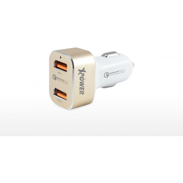 Xpower 2nd Gen 2 Port USB Dual Quick Charge 3.0 Car Charger (Gold)