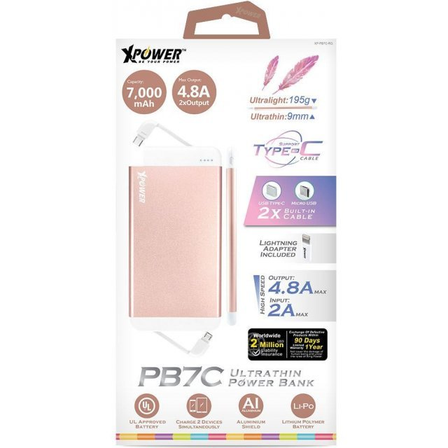 Xpower PB7C Ultra-thin Type-C Power Bank 7000mAh (Rose Gold)