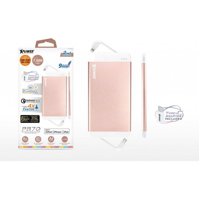Xpower PB7Q Quick Charge 3.0 MFi Power Bank 11000mAh (Rose Gold)