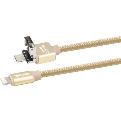 Xpower Power Sharing Lightning Aluminium Alloy Muti Charging Cable 1.2m (Gold)