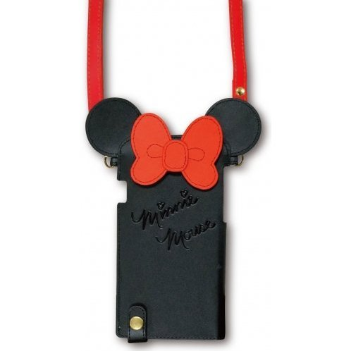 gourmandise Disney iPhone 6 Diecut Leather Case with Neck Strap Black x Red DN-252A