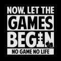 No Game No Life - Now, Let The Games Begin Message T-shirt Black (L Size)