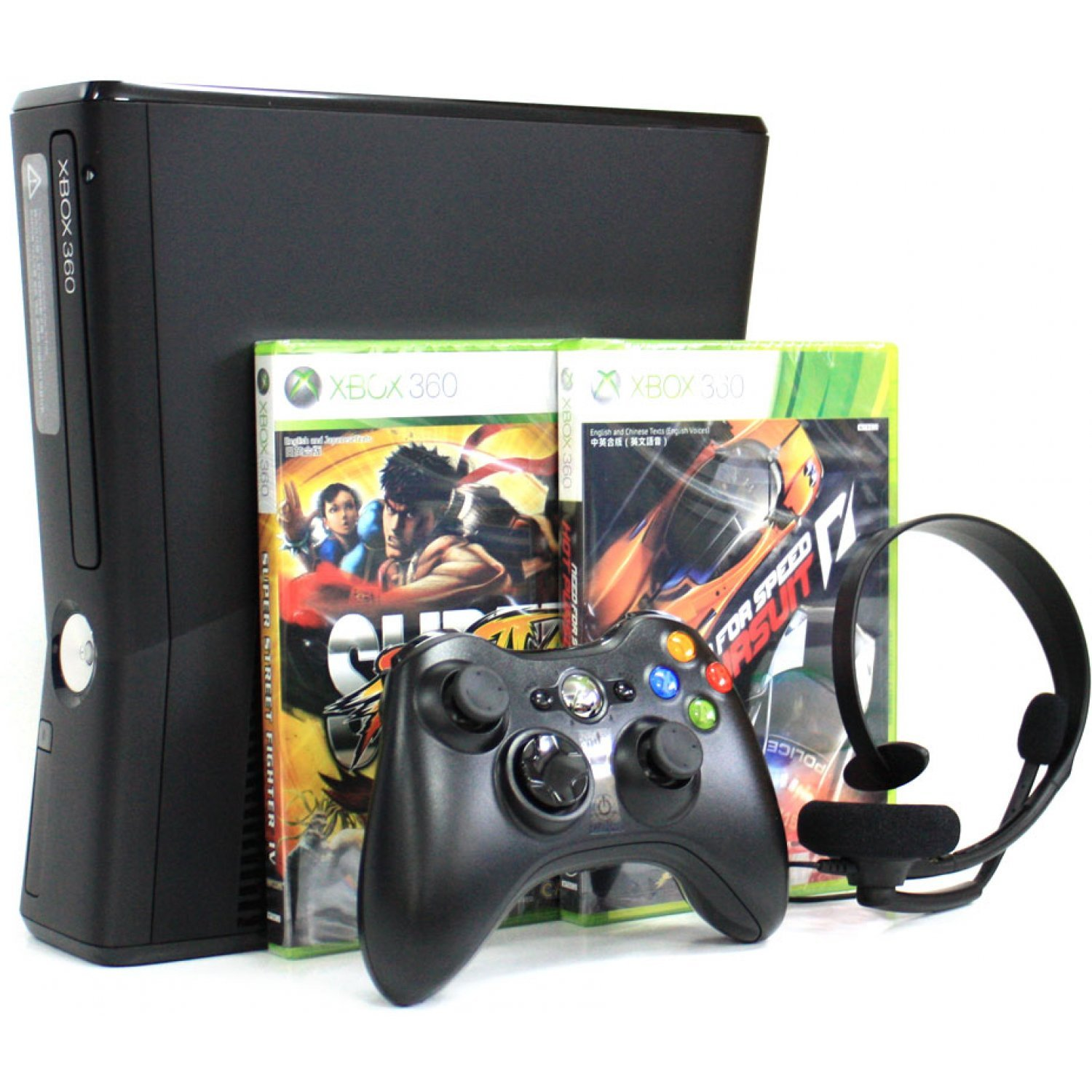 Xbox 360 Elite Slim Console 250gb Bundle Incl Street Fighter 4