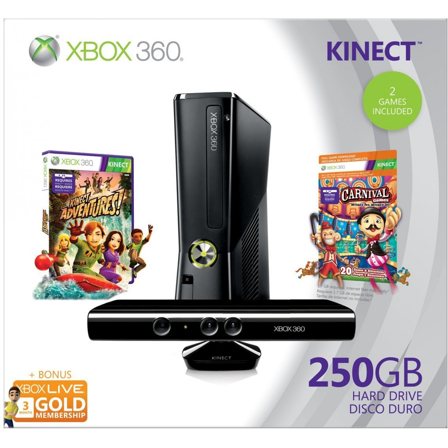 Xbox 360 elite slim console 250gb kinect bundle incl kinect adventures carnival games - Xbox 360 console with kinect ...