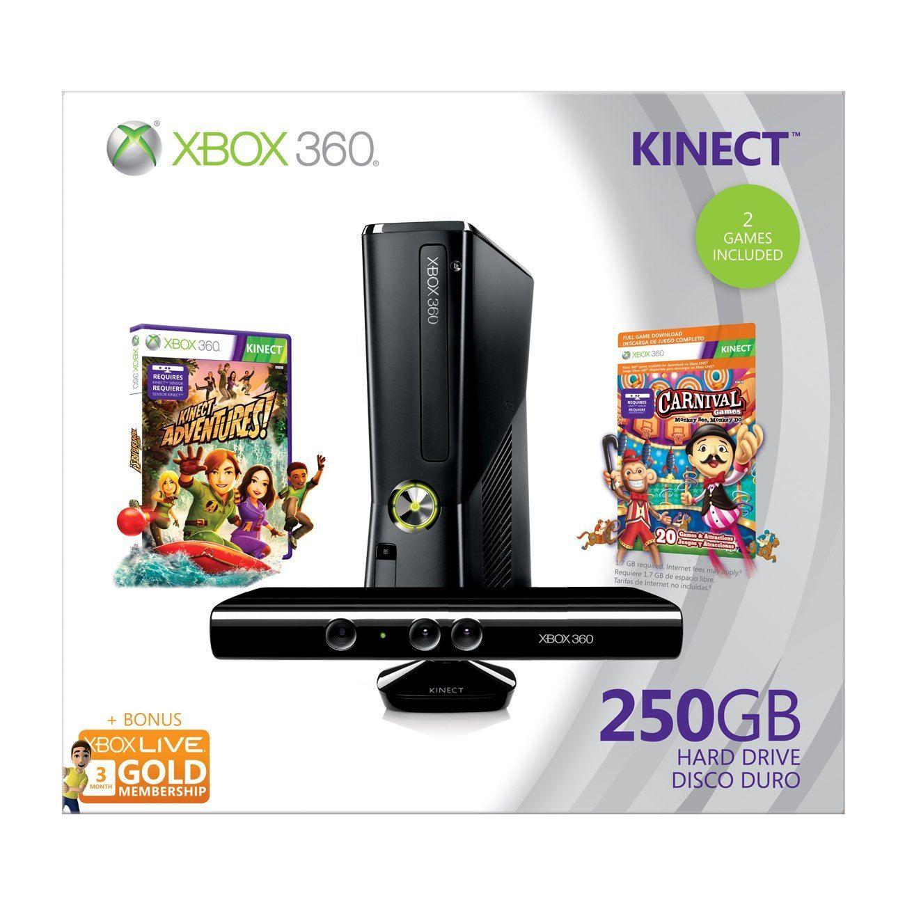 Xbox 360 Elite Slim Console 250gb Kinect Bundle Incl Kinect
