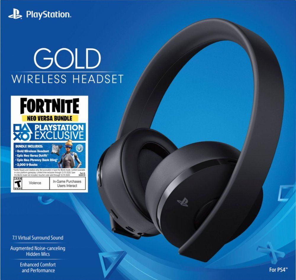 Playstation Gold Wireless Headset Black Fortnite Neo Versa Bundle