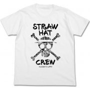 One Piece Straw Hat Skull Flower Pattern T-shirt White (XL Size) (Japan)