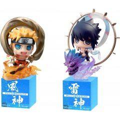 Petit Chara Land Naruto Shippuden Fuujin Uzumaki Naruto & Raijin Uchiha Sasuke Set - Mega House