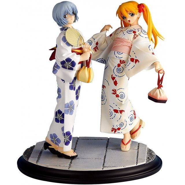 Neon Genesis Evangelion 1/8 Scale Pre-Painted Cold Cast Statue: Rei and Asuka Summer 2007 (Version)