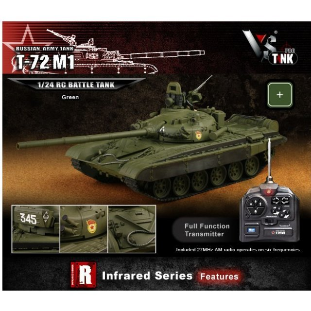 VS Tank IR Series 1/24 Russian Army Tank T-72 M1 Olive Green