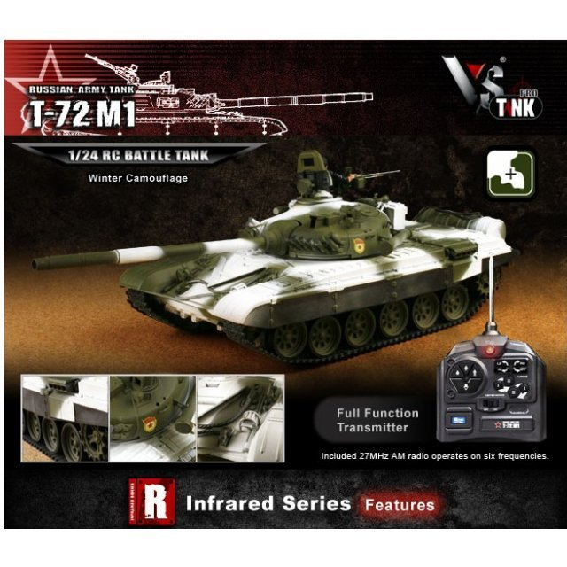 VS Tank IR Series 1/24 Russian Army Tank T-72 M1 Winter Camouflage