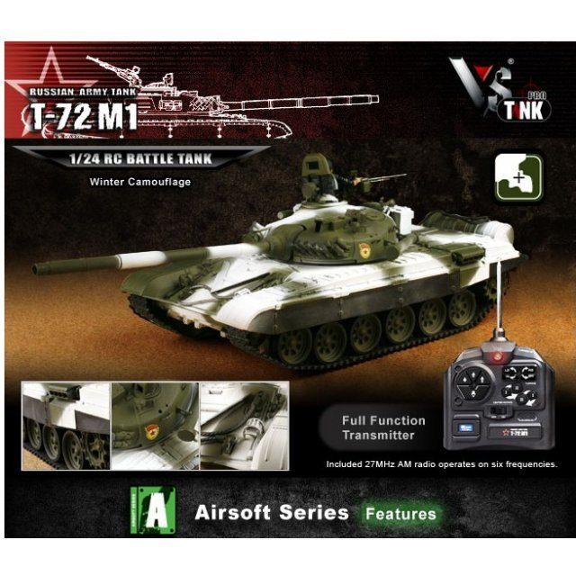 VS Tank Airsoft Series 1/24 Russian Army Tank T-72 M1 Winter Camouflage