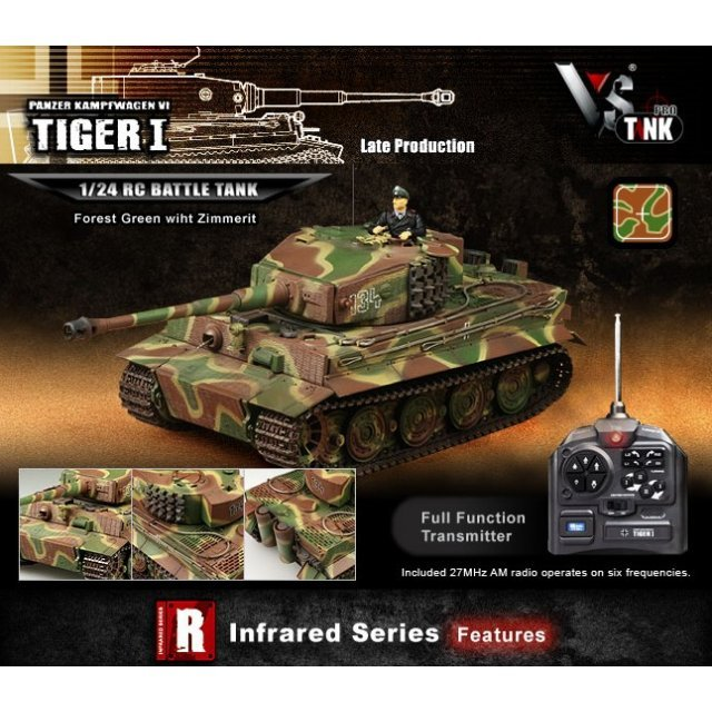 VS Tank IR Series 1/24 German Tiger 1 Forest Green with Zimmerit