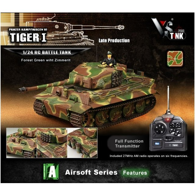 VS Tank Airsoft Series 1/24 German Tiger 1 Forest Green with Zimmerit