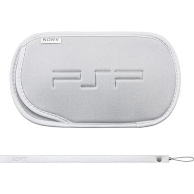 PSP PlayStation Portable Soft case and hand strap (white)