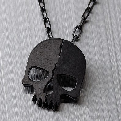Black Rock Shooter Silver Necklace Skull