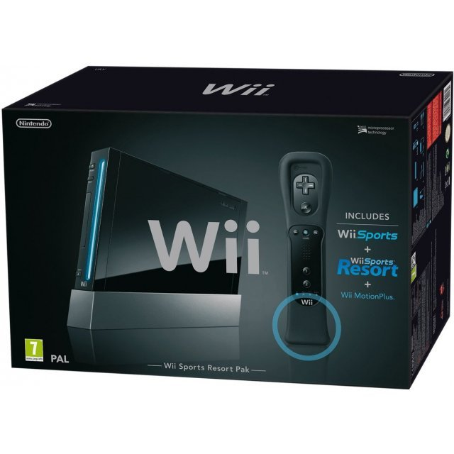 Nintendo Wii Console (Black) with Wii Sports + Wii Sports Resort and Motion Plus Controller