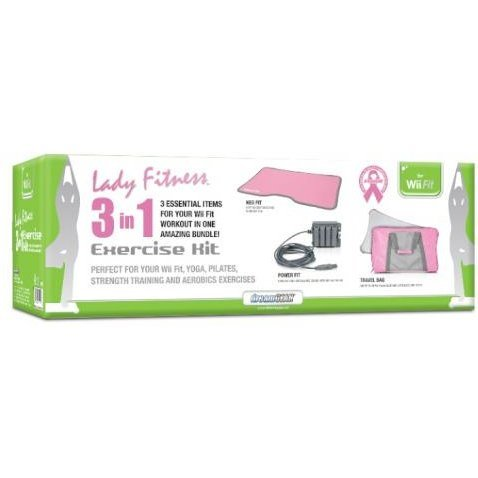 DreamGear 3-In-1 Lady Fitness Exercise Kit for Wii Fit  (Pink / Gray)
