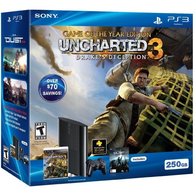 PlayStation3 Slim Console - Uncharted 3: Drake's Deception (Game of the Year Edition) Value Pack (HDD 250GB Black Model) - 110V