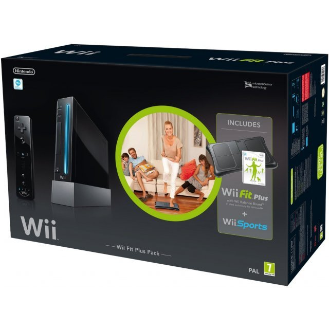 Nintendo Wii Console (with Wii Fit Plus and Balance Board + Motion Plus Controller) (Black)