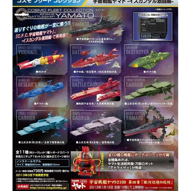 Cosmo Fleet Collection Space Battleship Yamato Non Scale Pre-Painted Trading Figure: Battle of Iskandar (Random Single)
