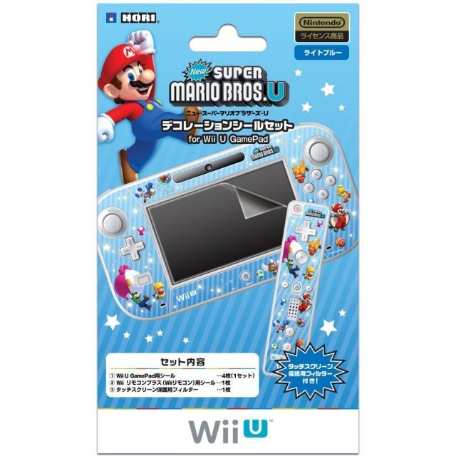 New Super Mario Bros. U Decoration Seal Set for Wii U GamePad (Light Blue)
