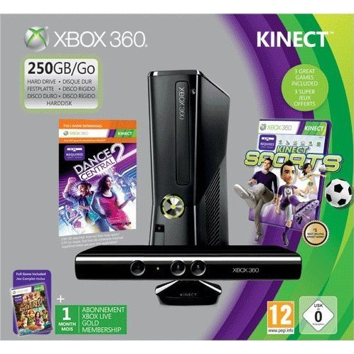 Xbox 360 250GB Console with Sensor (Includes Kinect Sports & Kinect Adventures Games)