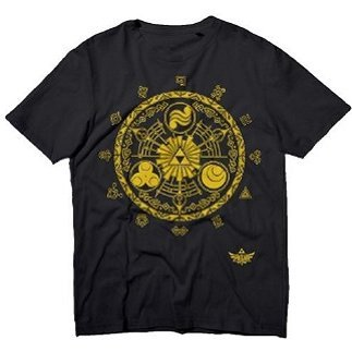 Nintendo The Legend of Zelda Crest Black Men's Tees (XXL)