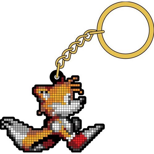 Sonic the Hedgehog Tails Pixel Rubber Key Ring