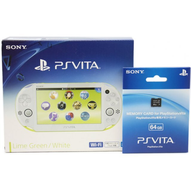 PS Vita PlayStation Vita New Slim Model - PCH-2000 (Lime Green White) [with 64GB Memory Card]