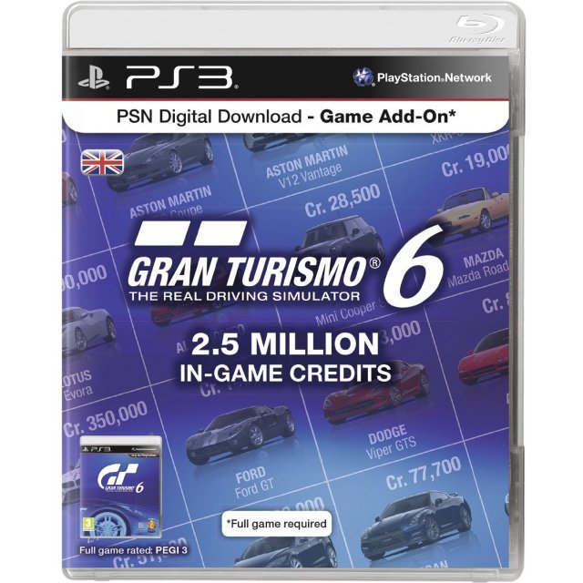 PSN Digital Download - Game Add-On (2.5 Million In-Game Credits - Gran Turismo 6)