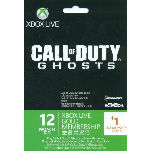 Xbox 360 Live 12-Month +1 Gold Membership Card (Call of Duty: Ghosts Edition)