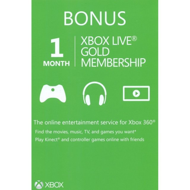 Xbox Live 1-Month Subscription Gold Card