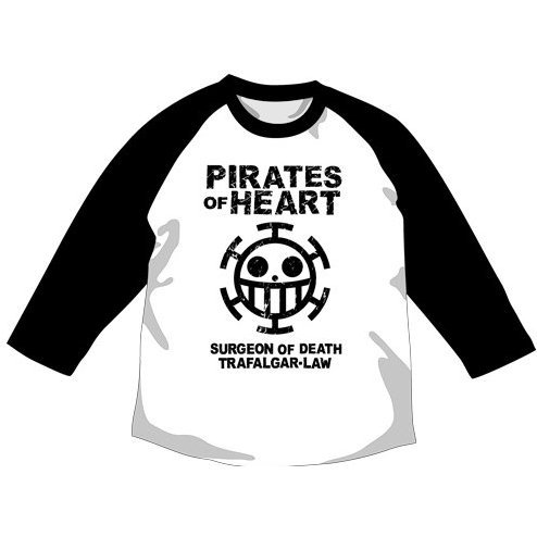 One Piece Pirate of Heart Raglan T-shirt White x Black S (Re-run)